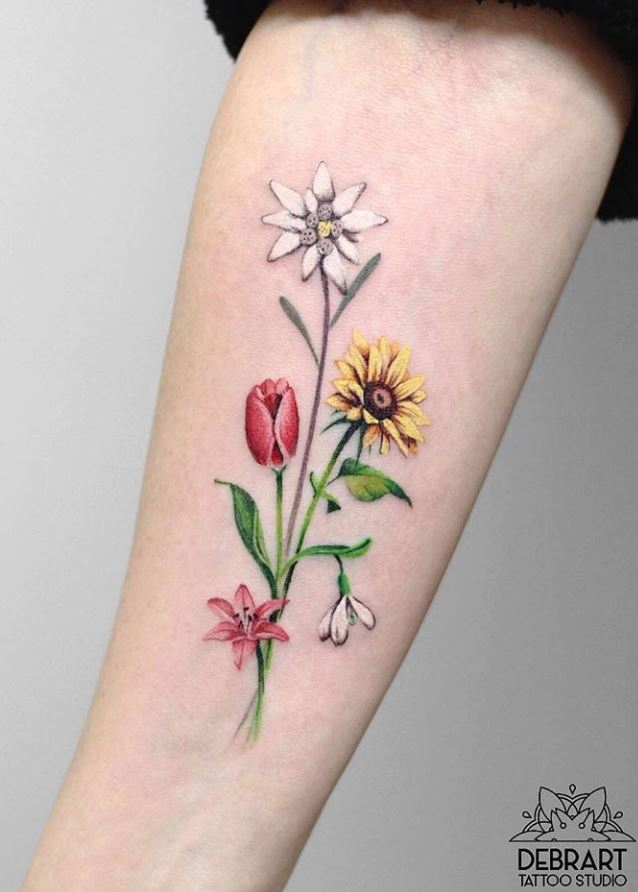 10+ Best Colorful Flower Tattoos For Girls