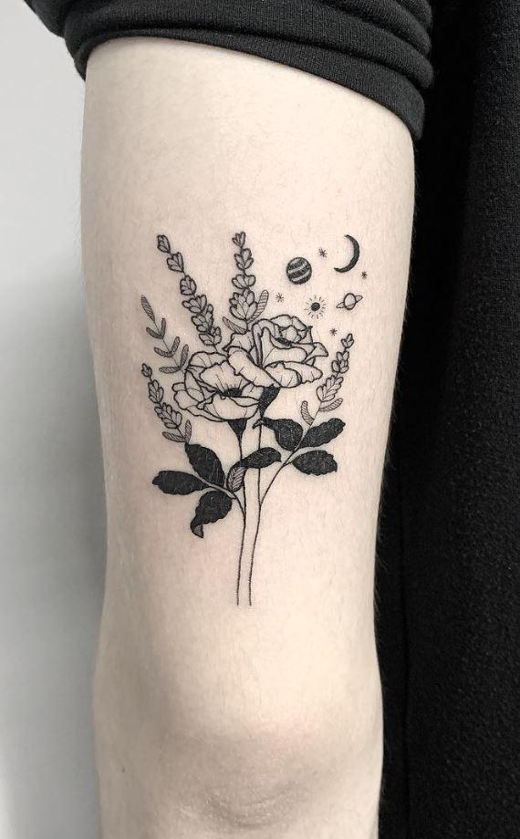 Black Flowers Tattoo
