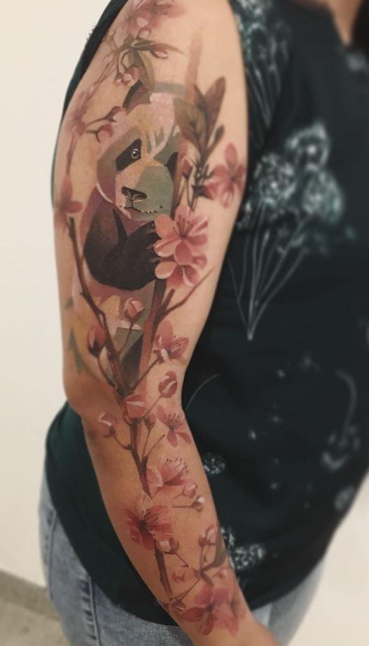 Panda On A Tree Tattoo