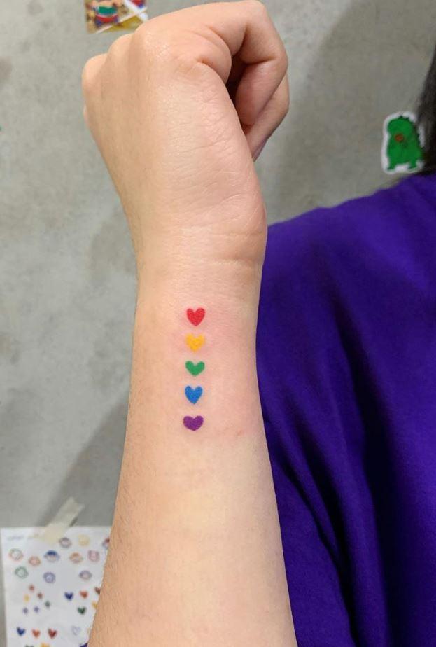 Tiny Colorful Hearts Tattoo