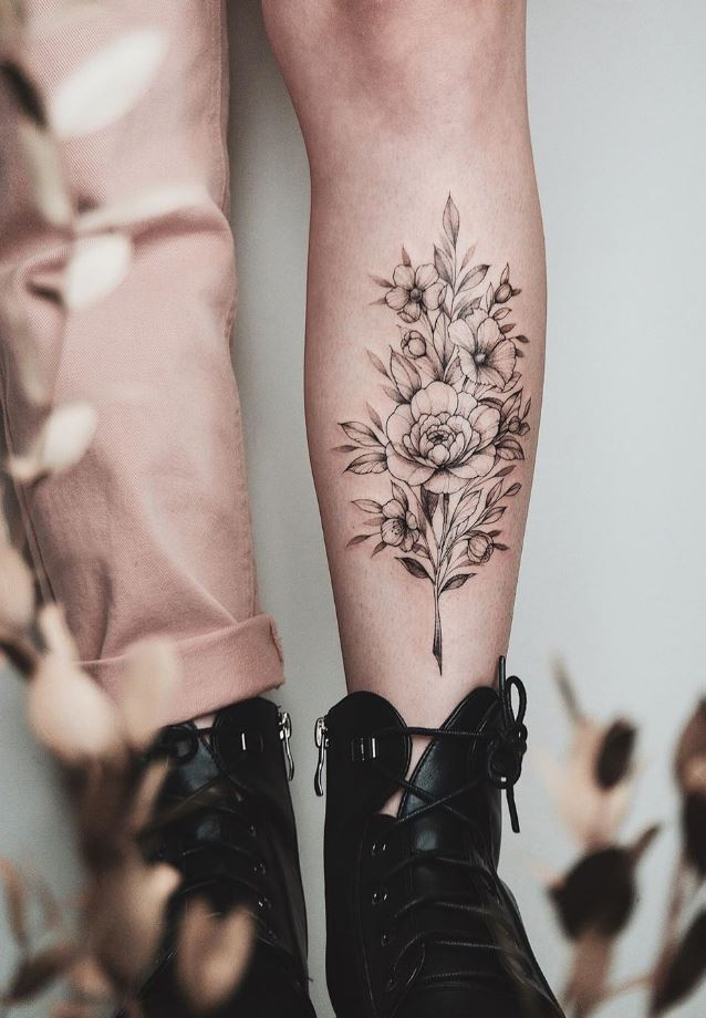 Awesome Black And Gray Flowers Tattoo