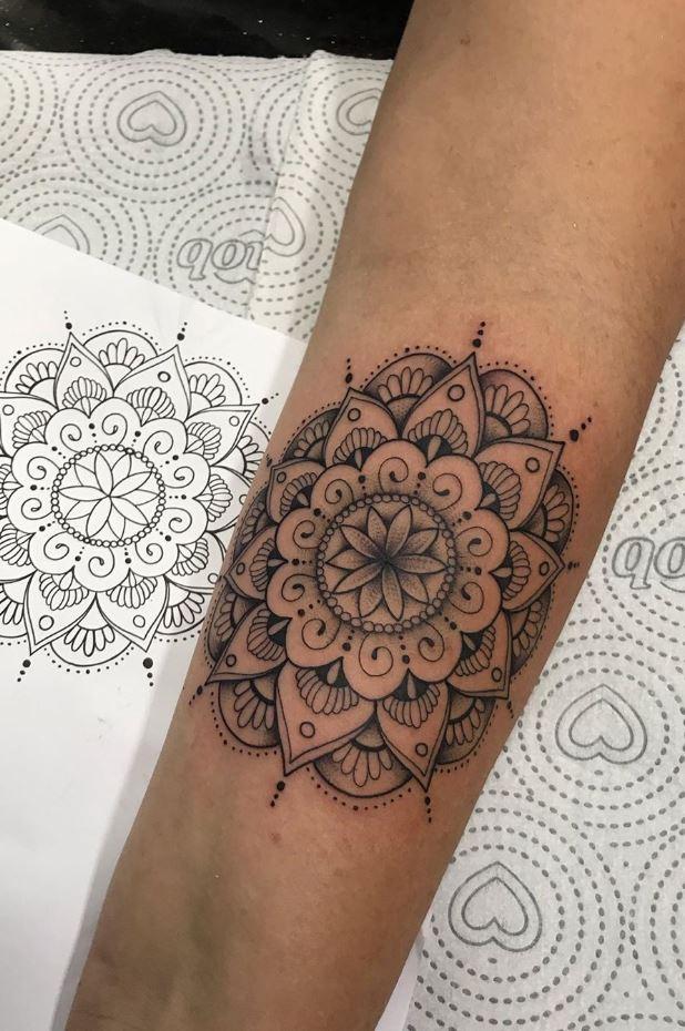 Black And Gray Mandala Tattoo