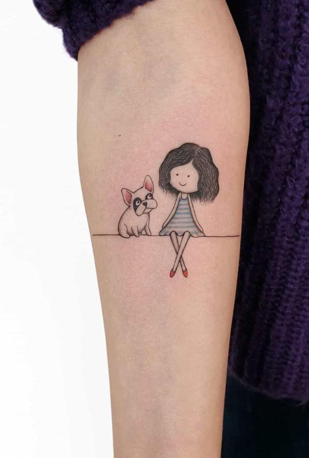 Girl & Dog Tattoo