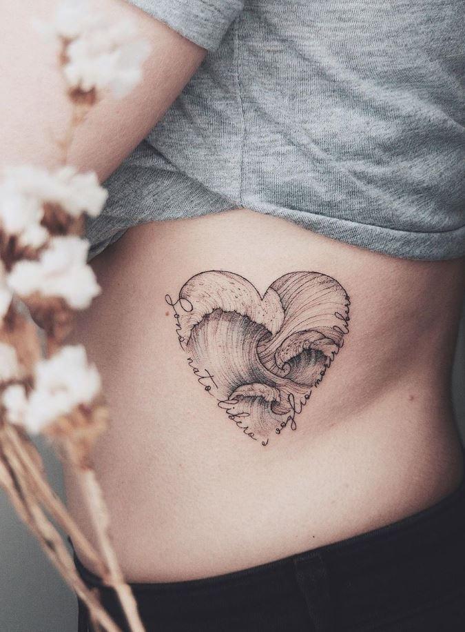 Heart Waves Tattoo