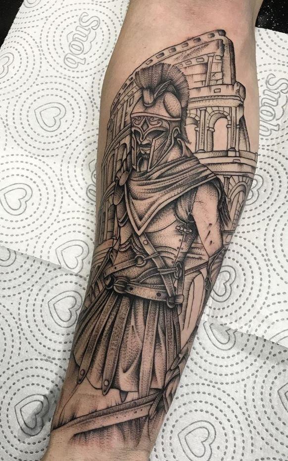 Roman Warrior Tattoo