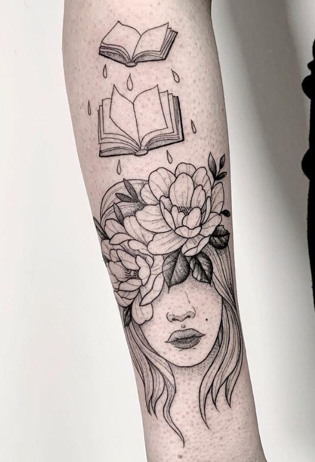 Reading Girl Tattoo