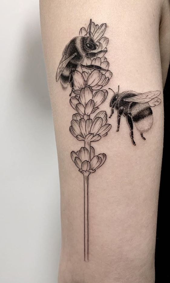 Bumblebees and Lavender Tattoo