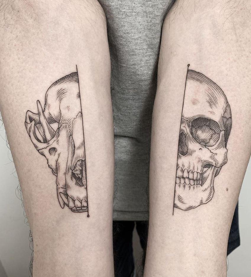 Half Wolf Half Human Skull Tattoo