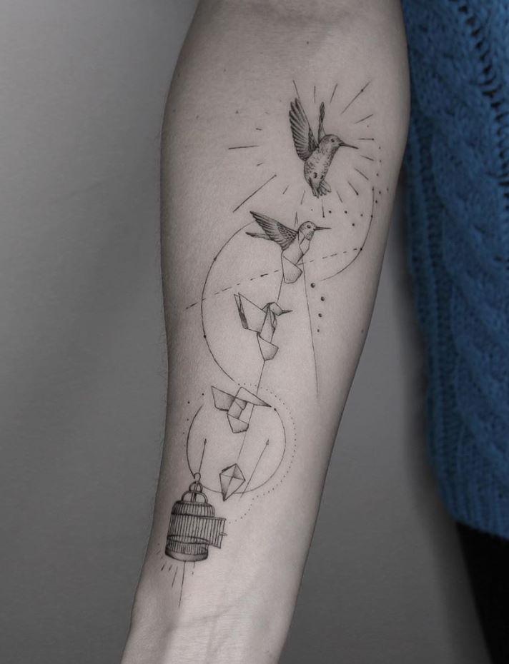 Origami Hummingbird Tattoo