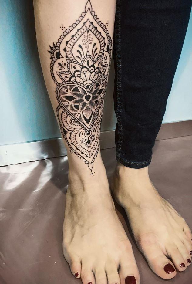 Ornamental Leg Tattoo