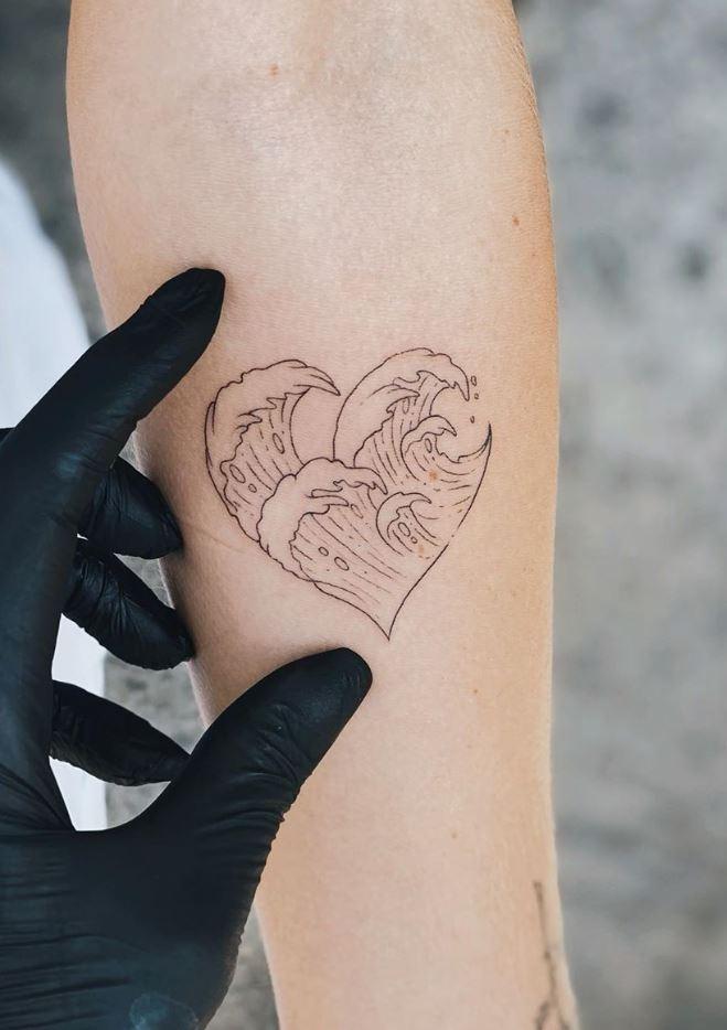 Wave Heart Tattoo