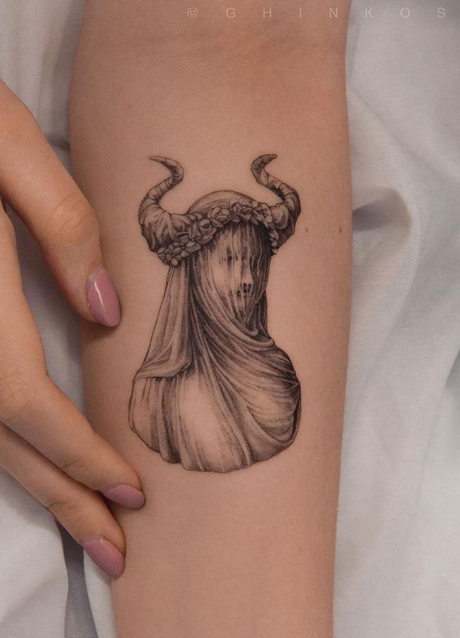 Demon Statue Tattoo