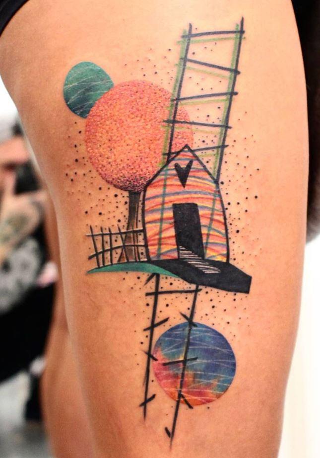 Colorful House Tattoo