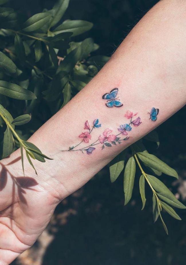 Little Butterflies And Flowers Tattoo